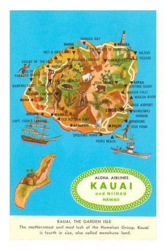 Map of Kauai, Hawaii. Hubby and I loved Kauai on our honeymoon. We want to go back!