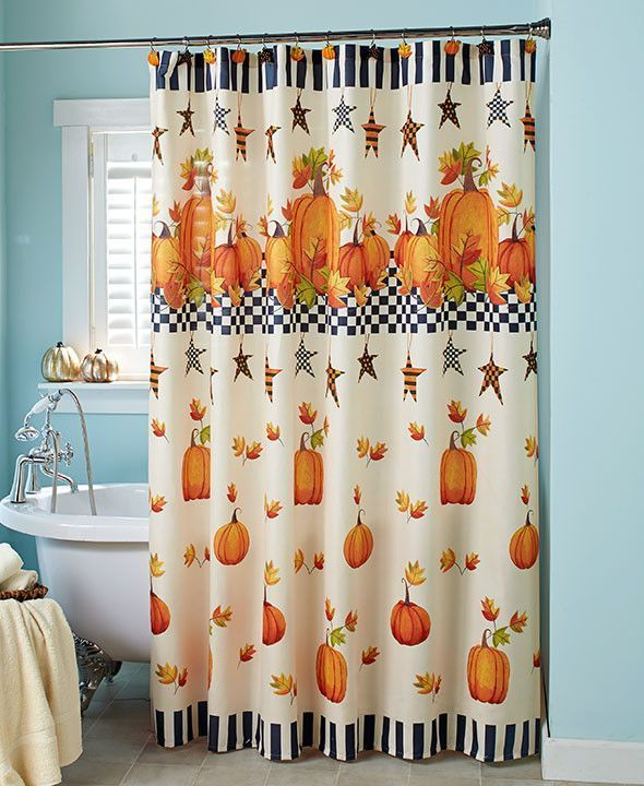 Pumpkin Stars Bathroom Collection Accessories Country Fall Harvest Shower Curtain Curtains