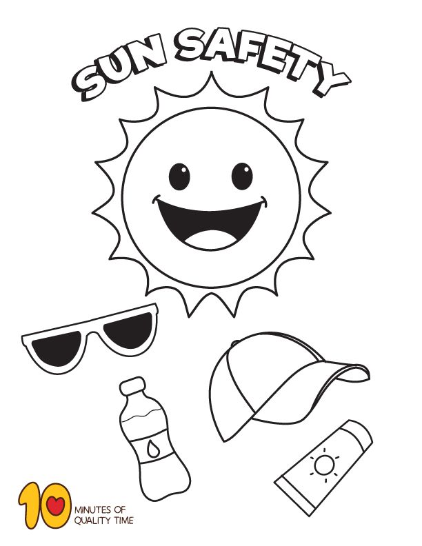 Summer Sun Safety Coloring Page (With images)   Coloring pages