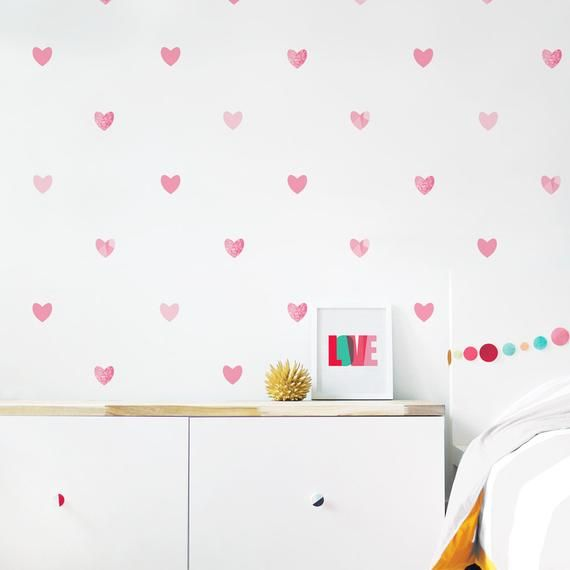 Heart Wall Decal Girl Room Decor Valentines Heart Wall Decor Kids Decor Pink Heart Wall Decal Kids Decal Hearts Children Wall Decal Wall Decals Girls Room Heart Wall Decal Heart Wall