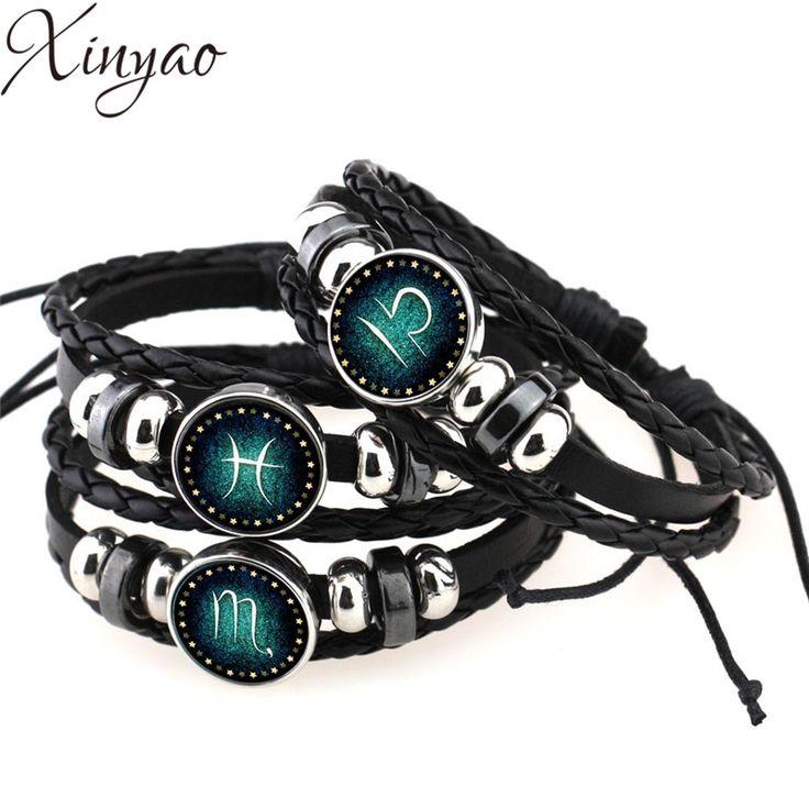 2016 Virgo/Sagittarius/Aquarius/Scorpio/Libra/Capricorn 12 Constellation Bracelet Men Women Braided Leather Bracelets & Bangles