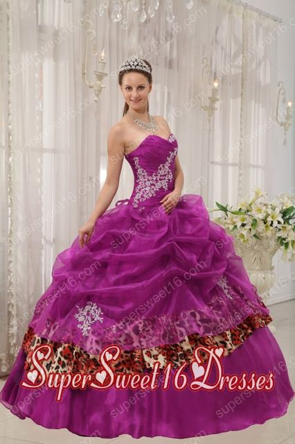 Organza and Leopard Fuchsia Ball Gown Sweetheart Sweet Fifteen Dress with Appliques