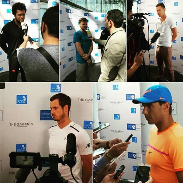 The stars take a moment to mingle with the media at the The Galleria as they kick off #MWTC 2016! Tomas Berdych Rafa Nadal David Goffin Andy Murray Jo Wilfried Tsonga