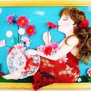 """Панно """"Дыхание  лета""""размер  30 см на 40 см. #девушка#цветы#лето#кукланазаказ#подарок#портрет"""