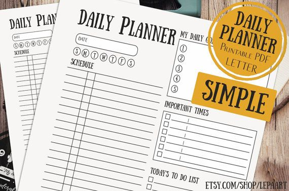 Daily Planner Printable, LETTER daily planner, SIMPLE daily planner 8.5x11, To Do List, Printable Daily Schedule, Day Organizer, Desk Planner ❤ INSTANT