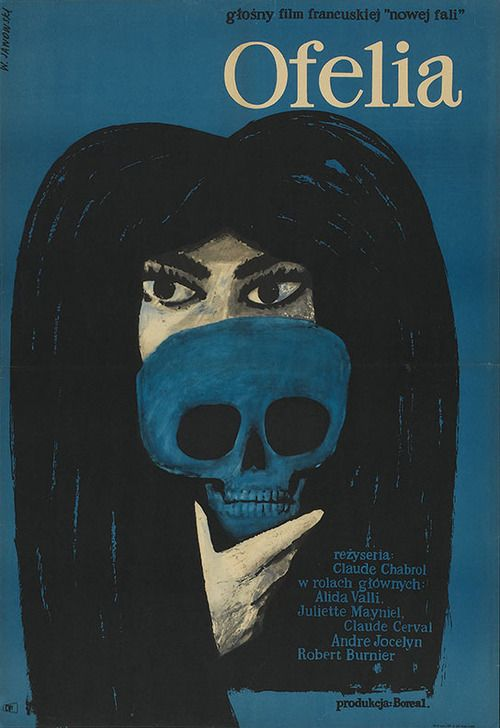 Skull 110 1964 Polish poster for OPHÉLIA (Claude Chabrol, France, 1963)1964 Artist: Witold Janowski
