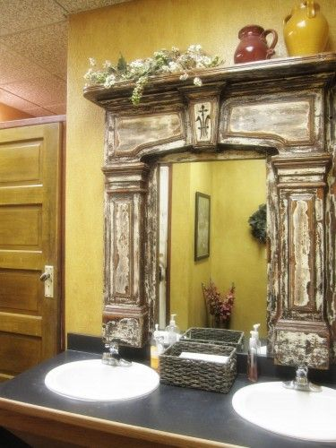 Old fireplace mantel as a frame for a mirror.  Cool.Bathroom Mirrors, Fireplaces Mantles, Decor Ideas, Fireplaces Mantels, Bathroom Vanities, Fireplaces Surroundings, Guest Bath, A Frames, Vintage Fireplace