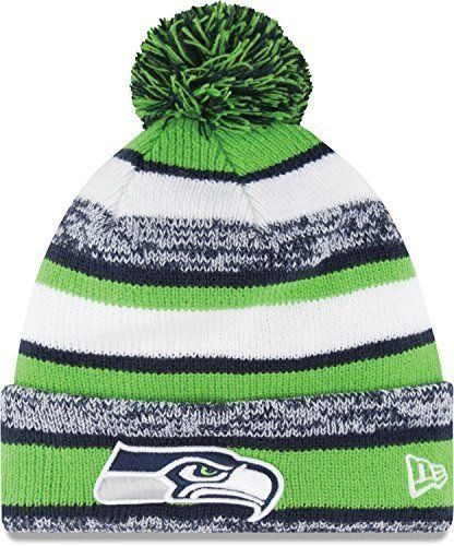 awesome New Era On field Sport Knit Seattle Seahawks Game Hat Navy/Green/White Size One Size