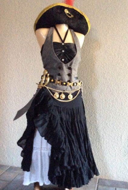Womens Pirate Halloween Costume Including Jewelry & Accessories Black White Womens Small by PassionFlowerVintage