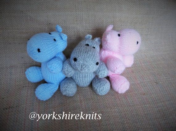 Hand Knitted Hippo stuffed toy Baby shower by HandKnittedYorkshire