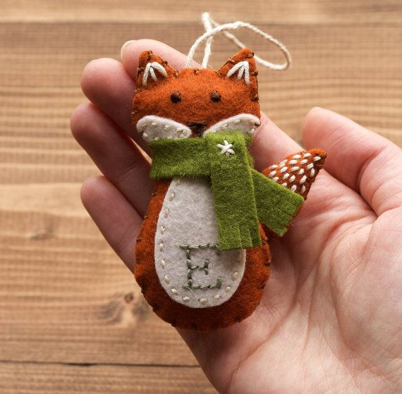 Personalized Red Fox Christmas Ornament, Felt Fox, New Baby, Baby's First Christmas, Girl, Boy, Winter, Customized Gift, FREE Gift Wrapping