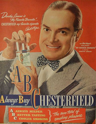 1947 BOB HOPE Chesterfield Cigarettes Vintage Advertisement Smoking 1940s by Christian Montone, via FlickrRetro Advertising, Cigarettes Ads, Bobs Hope, Celebrities Endorsers, Retro Posters, Bob Hope, Chesterfield Cigarettes, Vintage Ads, Vintage Advertising