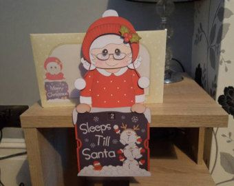 Mrs Claus, Christmas countdown, decoration, keepsake, sleeps till Santa card and envelope on the shelf