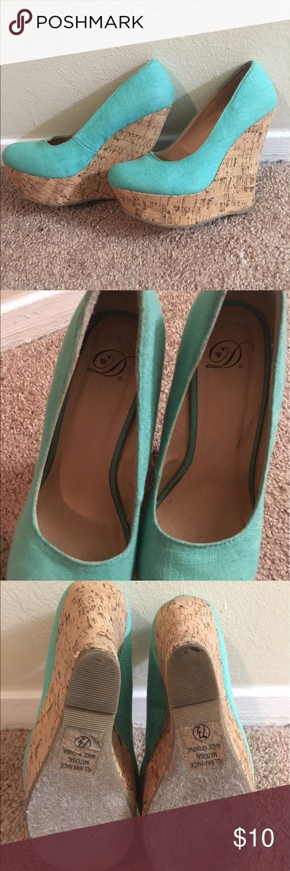 Cute Turquoise Wedges Super cute Turquoise wedges size 7 1/2! Only worn 2-3 times! Shoes Heels