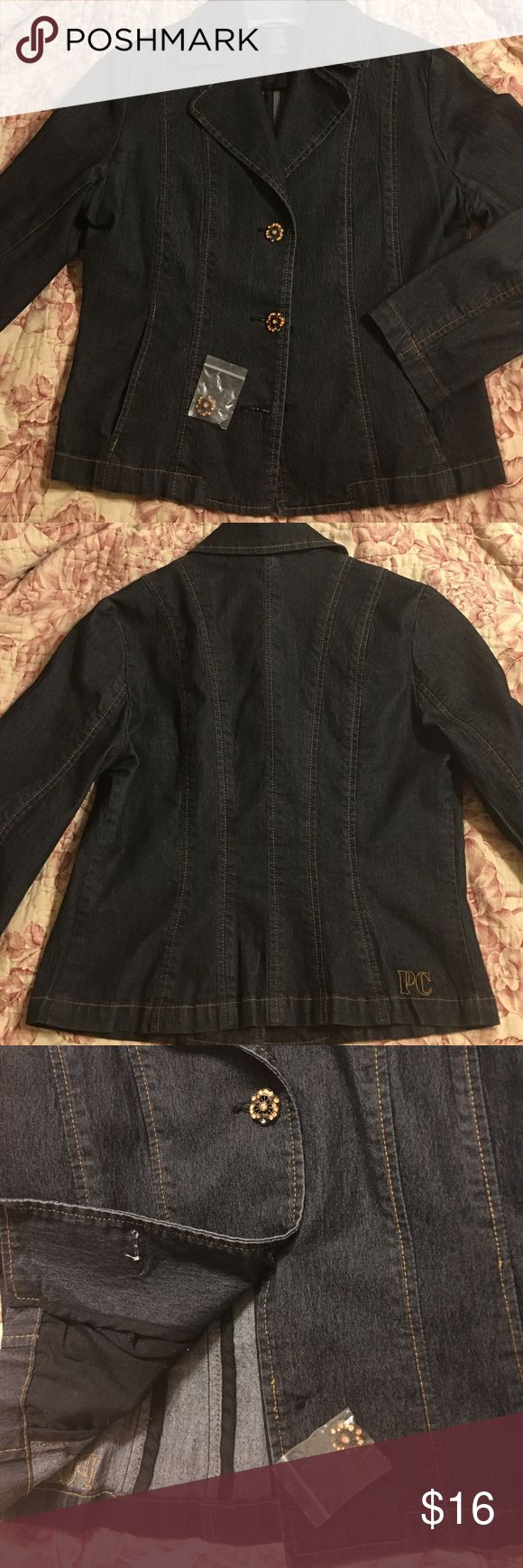 Denim jacket Dark denim jacket! Love it! I wore it to work with dresses and heels! It's very dressy and slimming! (Button came off, but I don't know how to sew...The button is included!😀) Pierre Cardin Jackets & Coats Jean Jackets