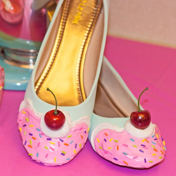 Who doesnt love dessert? These are a uniquely designed pair of heels handcrafted to look like they have frosting and a cherry on top! These are great for