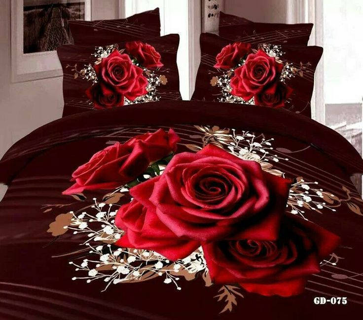 luxury black and red rose bedding set queen super king size printed 7 pcs cotton fitted sheets duvet cover pillow case