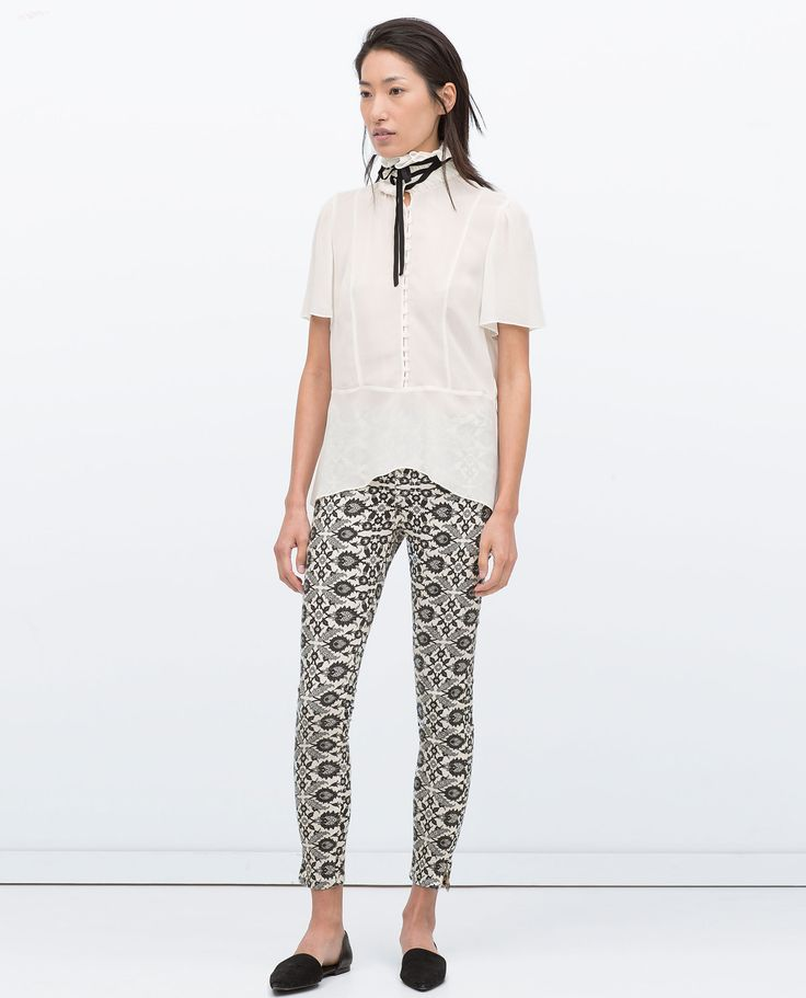 Zara Cropped Skinny Printed Trousers in White | Lyst