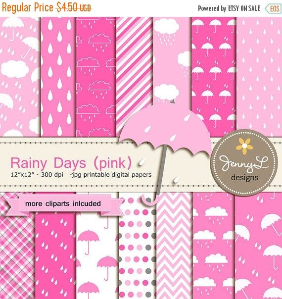50% OFF Pink Umbrella Digital paper and by JennyLDesignsShop
