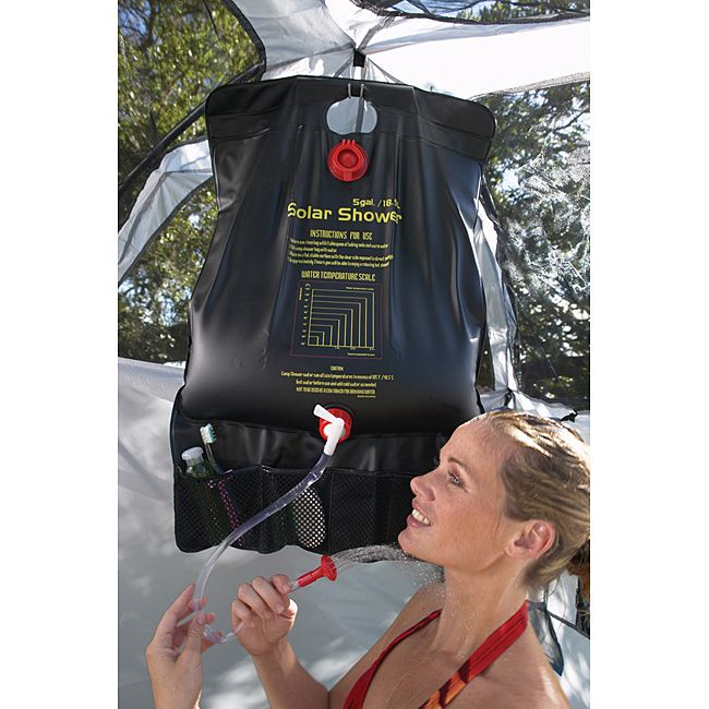 Camping and outdoors shower has a five-gallon capacity (enough water for three or four showers)Camping gear features black polyethylene shell that absorbes warmth from the sunTexsport portable shower folds flat for easy storage