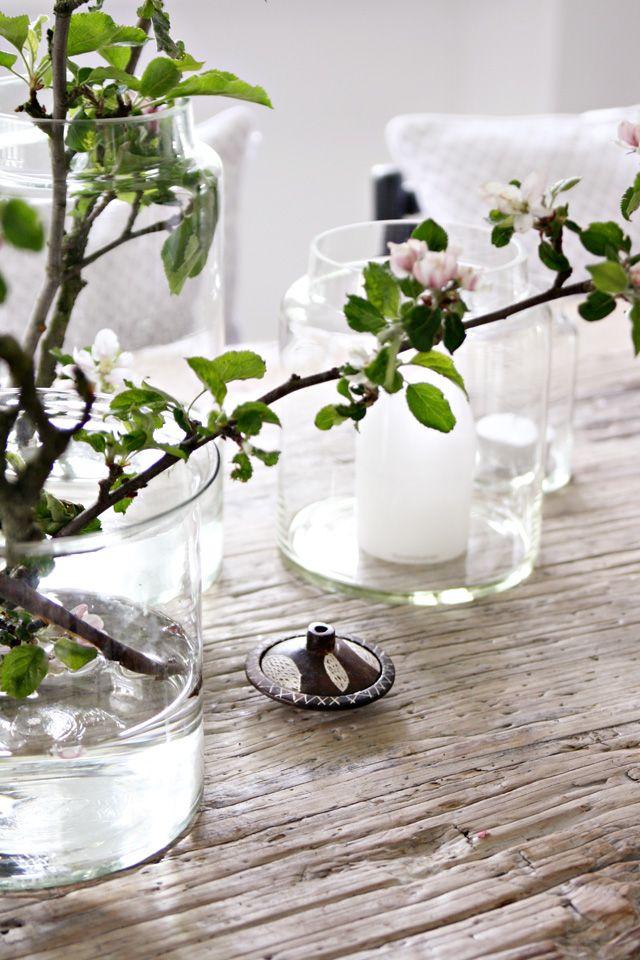white glass & blossom / decoration