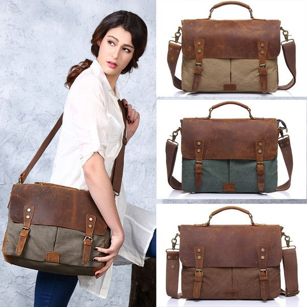 Trendy Unisex Briefcase  With Buckle and Splicing Design