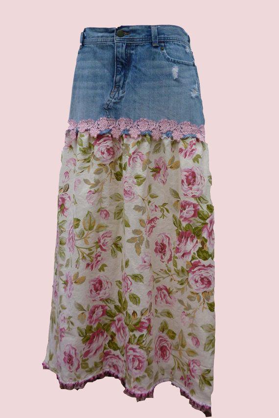 MEDIUM / LARGE SKIRT Tall, Long Denim Skirt, Pink Roses Skirt, Shabby Chic Skirt, Pink Floral Skirt, Upcycled Denim Skirt, Refashioned Skirt...