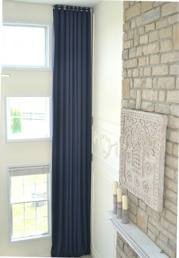 Extra Long Blackout Curtain Wide Drape With Grommet Top Etsy Curtains Tall Ceiling Living Room Tall Curtains