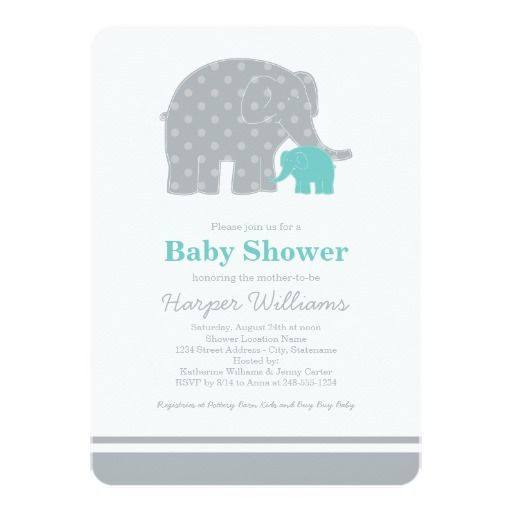 Stylish and sweet baby shower invitation features a mother elephant and her newborn baby elephant calf.  The design combines playful polka dots and classic stripes, and a neutral color scheme of white, aqua blue, and gray.