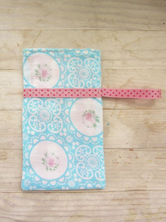 Mobile phone pocket cell phone pouch case wallet soft cover pink rose light blue pink white vintage cotton ribbon gift shabby chic country