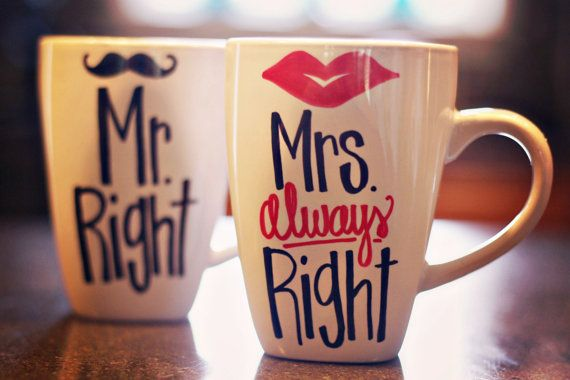 Mr. Right and Mrs. Always Right/ Lips and Mustache mugs.