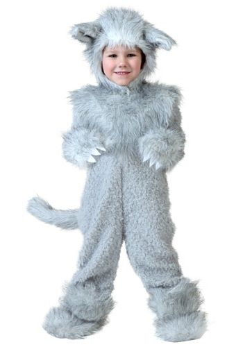 This furry Toddler Wolf Costume is a cozy and cute choice for your next Halloween event! Pair it with a Little Red Riding Hood costume for an adorable duo.
