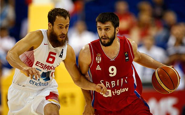 Stefan Markovic of Serbia drives to the basket against Sergio Rodriguez of Spain during the FIBA EuroBasket 2015 Group B basketball match between...