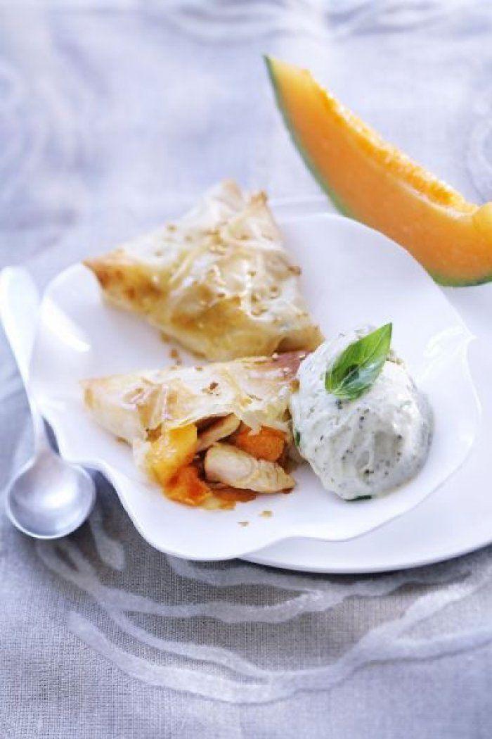 Recette minceur: croustillant de poulet et melon chaud et sa crème glacée au basilic