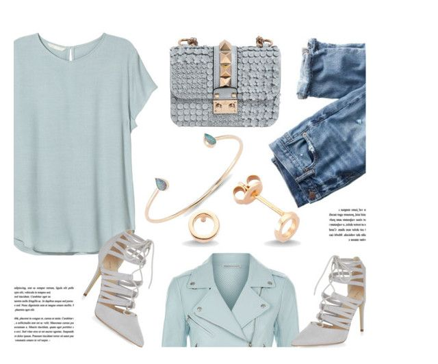 """""""Something Blue"""" by amorium ❤ liked on Polyvore featuring H&M, Amorium, J.Crew, Rebecca Minkoff, Valentino and Blue"""