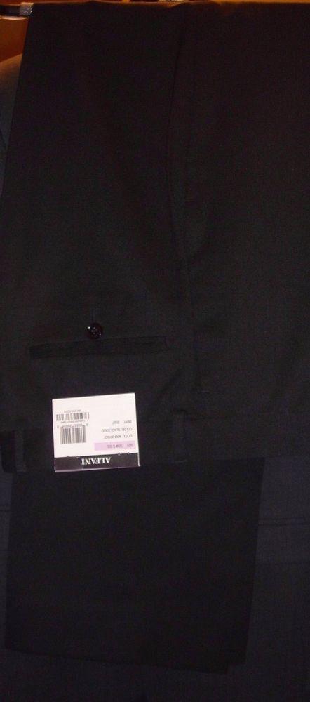 Alfani Black Mens Pants Size 32/32 Polyester Wool Blend New With Tags A00F001507 #Alfani #DressFlatFront