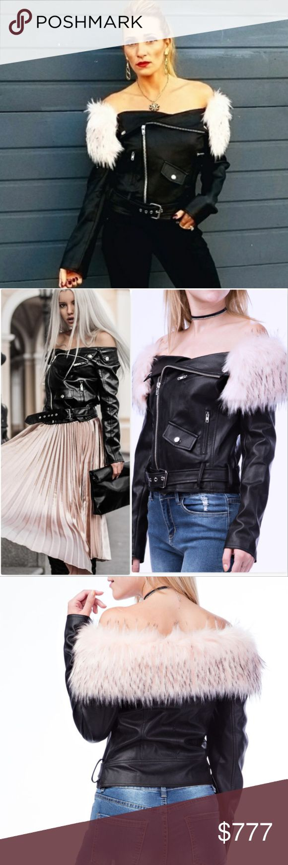 OFF SHOULDER FAUX LEATHER JACKET Brand new - Price is FIRM Boutique item NWOT  Grab this sexy and edgy leather jacket with removable pink fur collar to rock all season long!!! Pair with ripped up jeans for a HOT look!! This fully lined jacket feature fabulous zipper details, mini pocket detail, and belted detail ❤Faux Leather/Faux Fur  Additional pics on Instagram @modamecouture  . Jackets & Coats