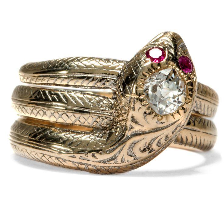 Um 1890: Massiver SCHLANGENRING 585 GOLD Rubin & Diamant Schlange Ring
