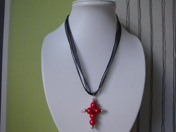 Black and Red Cross Necklace by traceysjewellery on Etsy, £3.50
