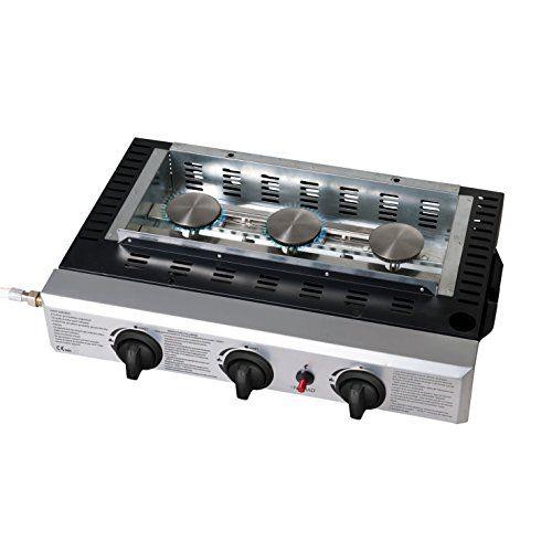 BE NOMAD DOC105 Plancha gaz Noir/Argent: Plancha gaz convient pour 10 à 12 personnes plaque de cuisson émaillée 60 x 33 cm