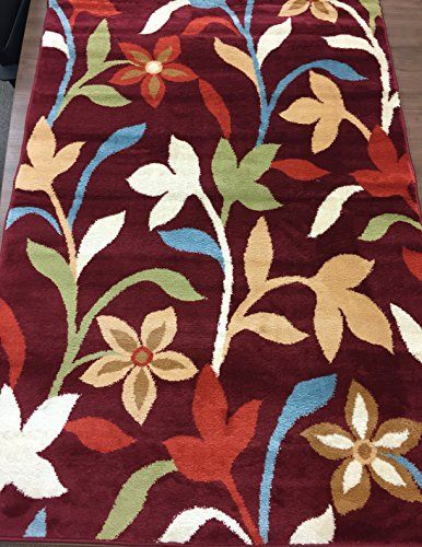 Modern Contemporary Leaves Design Burgundy Area Rug 2' x 3'