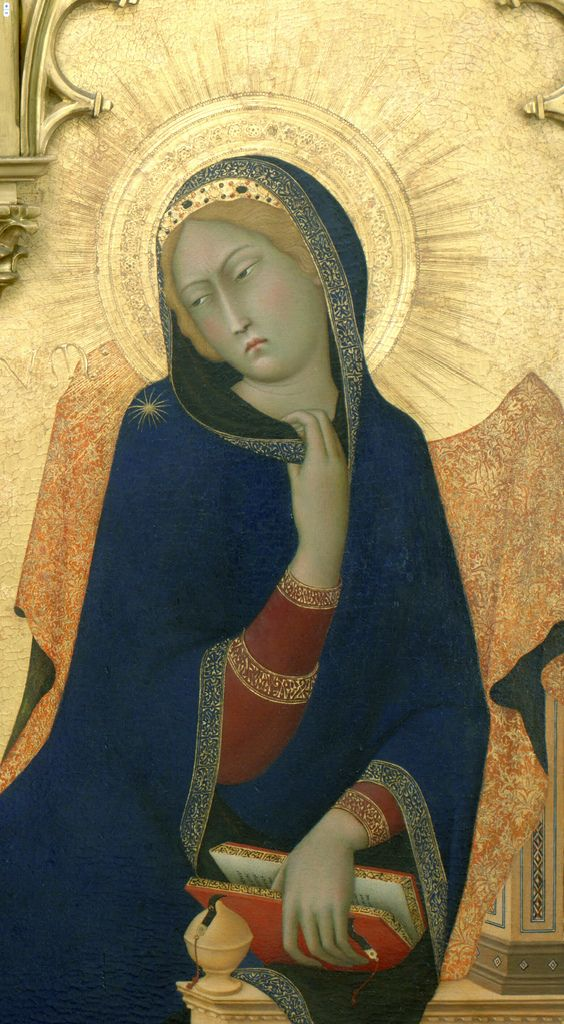 Simone Martini ~ The Annunciation and Two Saints (detail of Mary), 1333