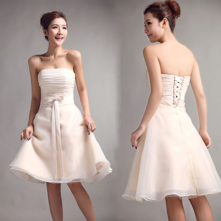 Strapless with pleated bodice a-line organza bridesmaid dress  A-line/Princess,Knee Length,Strapless,Natural,Sleeveless,Bow,Pleats,Lace-Up,Organza,Beach/Destination,Church,Garden/Outdoor,Hall,Spring,Fall,