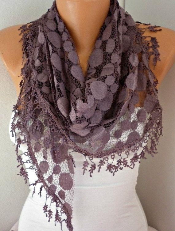 ON SALE  Damson Lace Scarf  shawl scarf   fatwoman by anils, $16.20