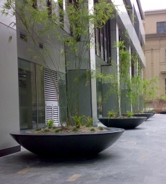large scale planters with a wide rim for sitting