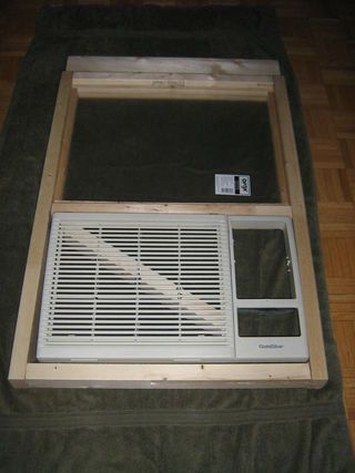 DIY instructions for making/installing a plexiglass frame that holds an air conditioner unit in a horizontally sliding window. (Most units are designed for vertical windows)
