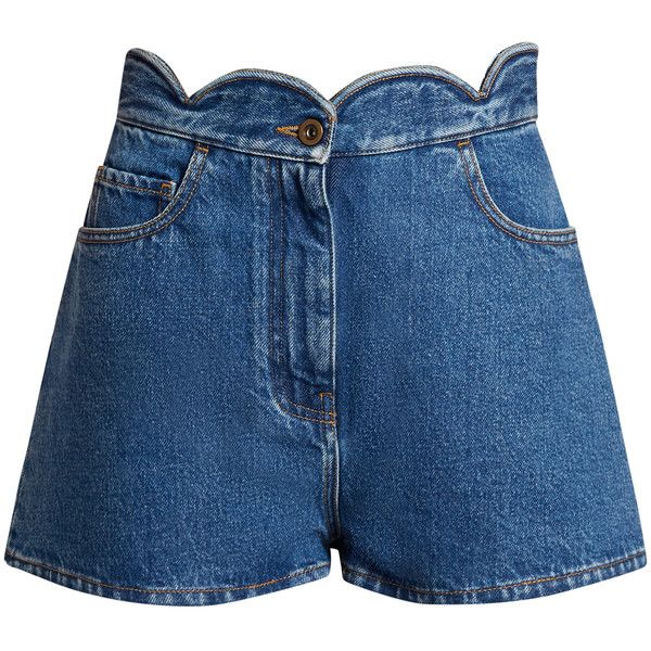 Valentino Scallop-edged denim shorts (41,900 DOP) ❤ liked on Polyvore featuring shorts, denim, denim short shorts, slim shorts, blue shorts, jean shorts and scalloped shorts