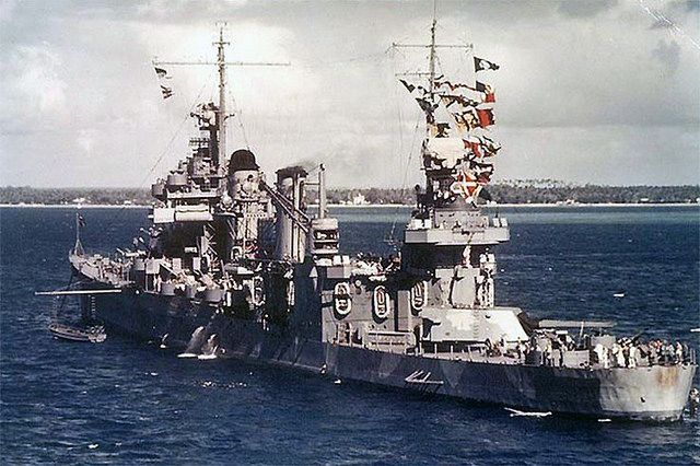 Heavy cruiser USS Quincy, sunk at the Battle of Savo Island in 1942.