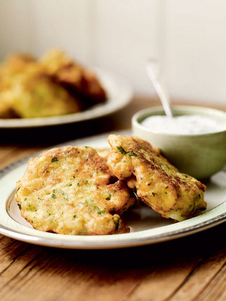 These cauliflower fritters are great dunked generously in the herby yogurt…