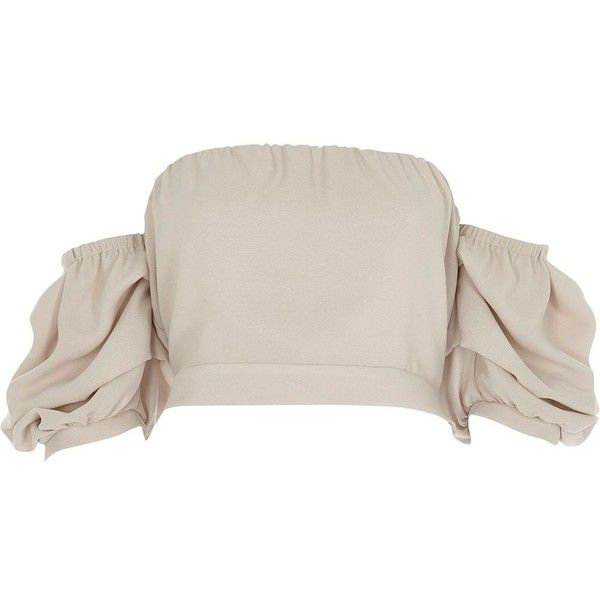 River Island Beige puff sleeve bandeau crop top ($56) ❤ liked on Polyvore featuring tops, beige, crop tops / bralets, women, bralet crop top, tie crop top, pink crop top, bralette crop top and woven top